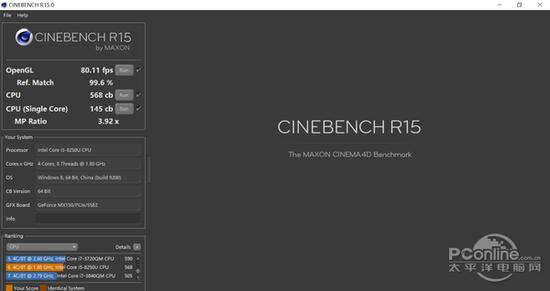 i5-8250U Cinebench R15