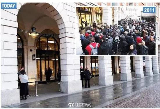 日本表参道的苹果直营店早上8点开门,7点钟左右还只有20人排队,直到开门营业只有60人前来排队。