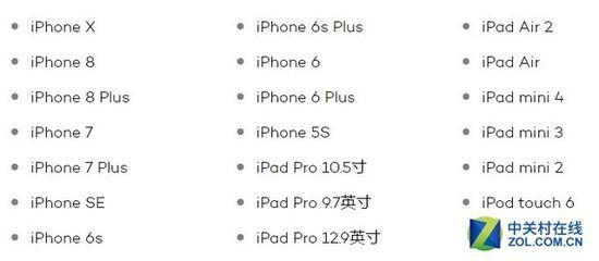 支持iOS11的机型(图片引自iMore)