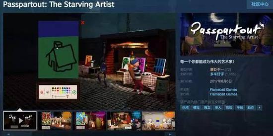 Steam上一款独立游戏《饥饿派画家》