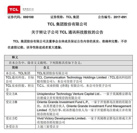此前TCL实业控股持有TCL通讯科技100%股权,交易完成后股权稀释至51%,仍占控股地位。