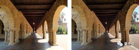 应用了HDR+技术(右)和没有应用(左)图像对比,两图均为Pixel 2拍摄。HDR+避免了天空处的过度曝光,并且增加了拱廊中的暗部细节