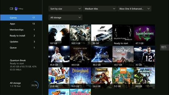 Kotaku笑称微软的三款4K游戏,就占掉了Xbox One X接近40%的存储空间
