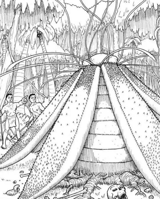 艺术家笔下的马达加斯加食人树。图源:Monsters Here & There