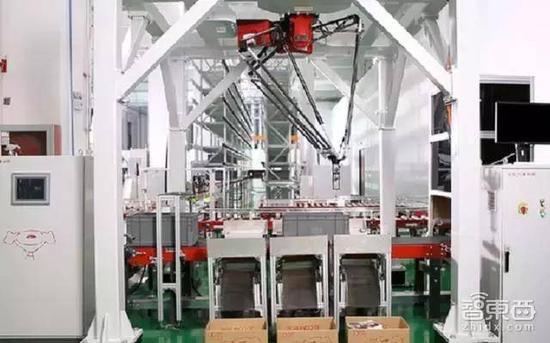 京东无人仓内分拣机器人在工作
