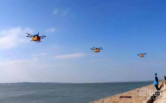 菜鸟无人机组跨海运送快递