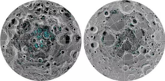 可以说,一步一步探测到月球上的水,这是人类月球探测的一大辉煌成就。月船1号M3数据探测到的极区水冰(蓝色部分)。图片来源:NASA