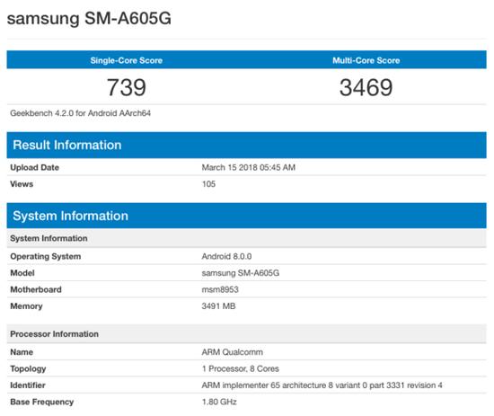 三星A6/A6+跑分曝光 处理器有点不一样