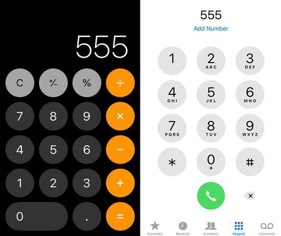 ▲ 左边为计算器,右边为电话拨号盘