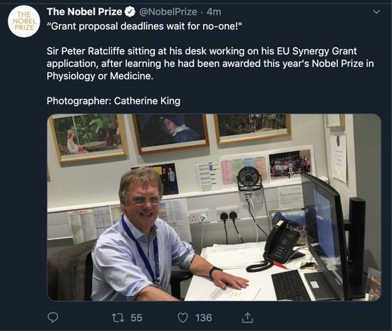 彼得·拉特克利夫得知獲獎時正在工作。截圖/自諾貝爾獎官方推特。