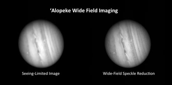 双子座天文台Alopeke宽场成像仪对木星成像对比,左图为视宁度效应极限(有大气干扰下的成像极限)的效果,右为散斑成像后效果(右) 丨图源:Physics Today