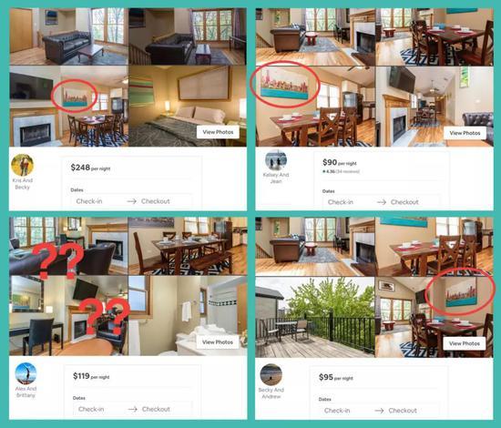 图注:这些不同账号列出的房源非常相似,只是拍摄角度不同。