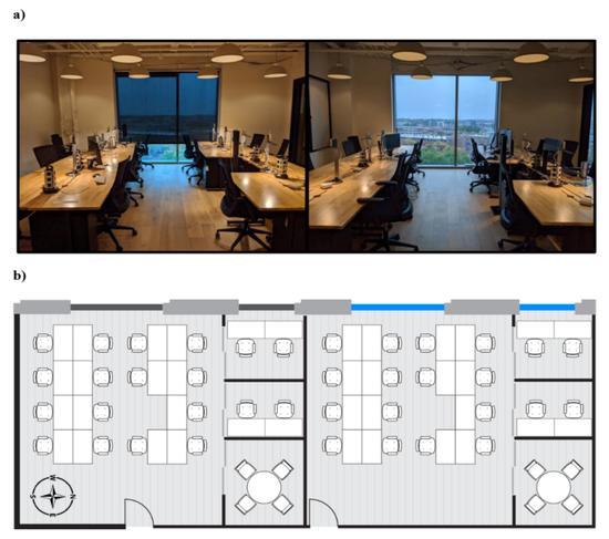兩間辦公室佈局、陳設、朝向相同,唯一的差別是照明。一間用傳統的百葉窗遮擋住玻璃窗透過的大部分陽光,另一間用變色玻璃降低眩光、同時讓陽光透過