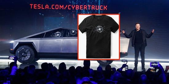 以车窗被打碎为灵感 特斯拉推出自黑主题T恤