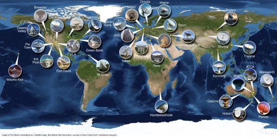 分?#21152;?#19990;界上五大洲的32个射电望远镜参与了观测。图片来源:Paul Boven