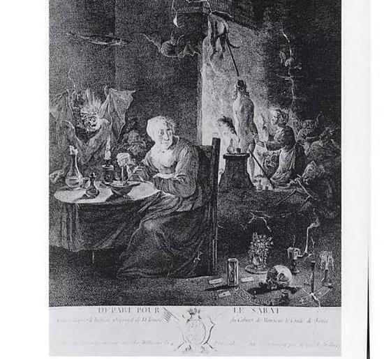 """17世纪的木刻版画,一名正在为""""飞行做准备的女巫""""。图源:Wellcome Institute, London,via John Mann"""