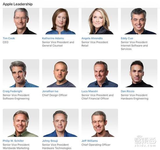 ▲除了John Giannandrea外的另外15位苹果核心管理层高管
