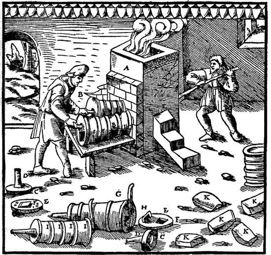 西班牙盧斯塔尼亞16世紀雙筒鼓風皮囊(Georgius Agricola: De Re Metallica。 1556。)