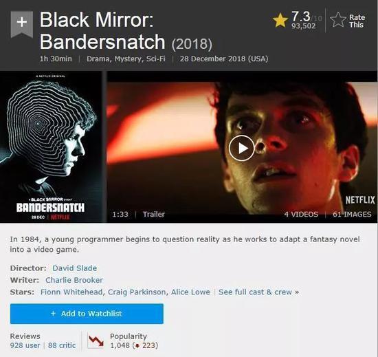 《黑镜:潘达斯奈基》IMDb评分截图