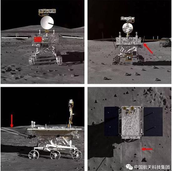 红色箭头所指的就是2根低频测月雷达天线,高频测月雷达是蝶形天线,安置在月球车底部。改编自:中国航天科技集团