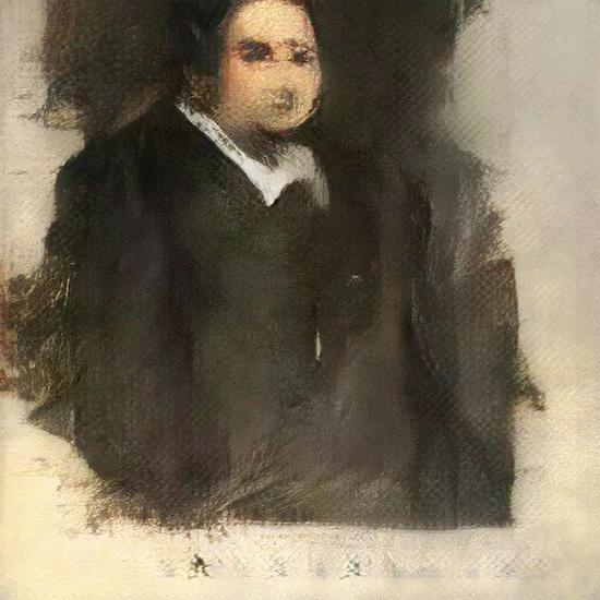 这幅由AI艺术模型GAN创作的Edmond Belamy人物像,佳士得拍卖行为其估价7000-10000美元,2018,图/ObviousArt