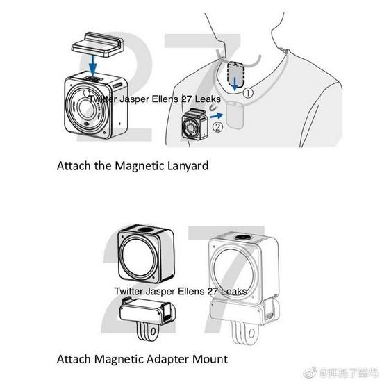 大疆DJI Action 2运动相机规格曝光