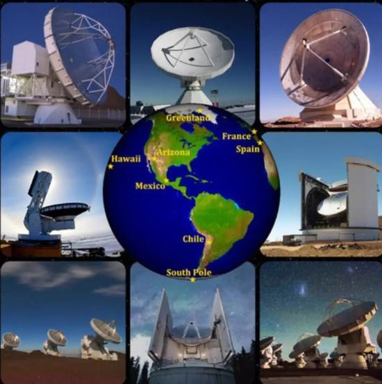 图丨 事件视界望远镜是由全球八大望远镜组成(来源:APEX, IRAM, G。 Narayanan, J。 McMahon, JCMT/JAC, S。 Hostler, D。 Harvey, ESO/C。 Malin)