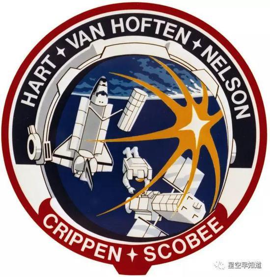 STS-41C任务徽标,可以很清楚的看到本次飞行的两项任务:释放一颗新卫星,修理一颗旧卫星   来源:NASA
