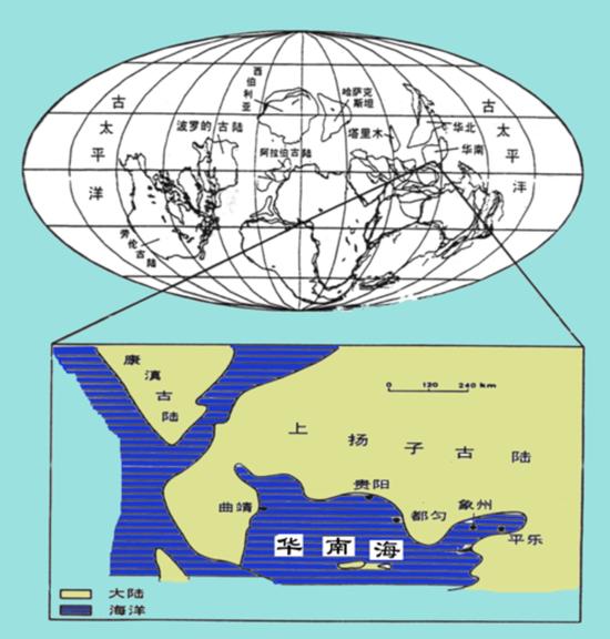 ▲4億年前雲南曲靖水下藝術想象圖和位置地圖(圖片由朱敏提供)