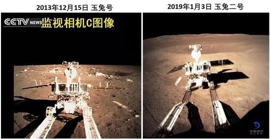 嫦娥三号释放月球车玉兔号(左)和嫦娥四号释放月球车玉兔2号(右),由各自的监视相机C拍摄。来源:探月工程