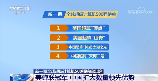 最新全球超级计算机榜单:中国超算蝉联上榜数量第一