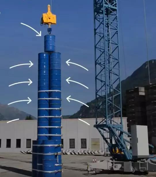 图|Quartz发布的视频,可以看到,为了提高塔的稳定,Energy Vault采用了一些在实际中绝对不能用的办法。(来源:Quartz)