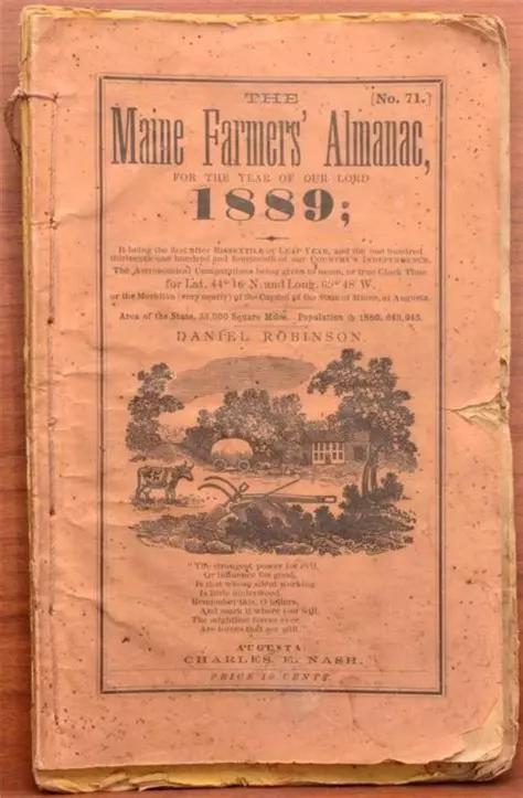1889年的缅因州农民历书,图自网络