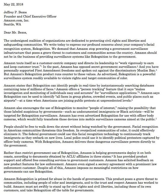 2018年5月22日,ACLU写给贝佐斯的公开信