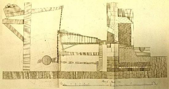 歐洲水輪驅動的楔形木扇結構圖(Henning Calvör。 Historical Chronological and Mechanical Facts in Relation to Metallurgy in Upper Hercynia。 1763。)