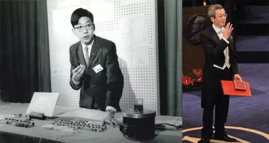 钱永健教授获得Intel Science Talent Search奖以及后来获得诺贝尔奖的照片