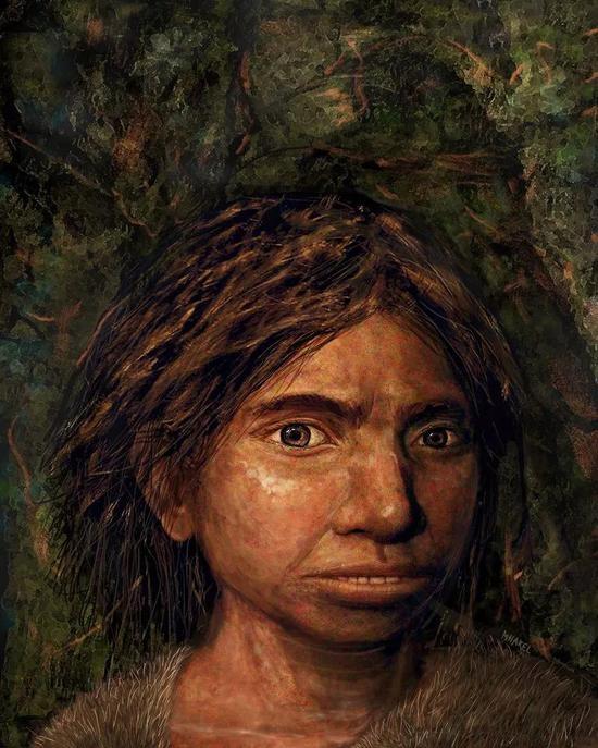 一名年轻的丹尼索瓦女性的艺术想象图——基于由古DNA推断而来的骨骼特征。
