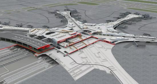 航站楼剖透视图