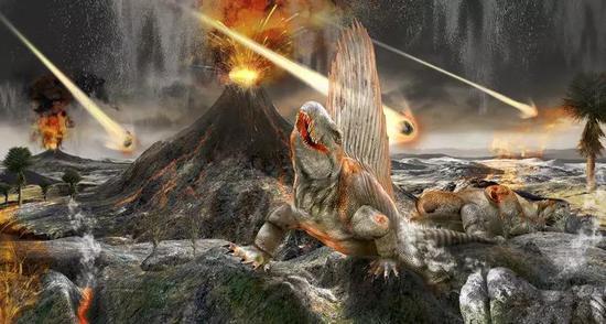 恐龙灭绝场景艺术图。(图片来源:CLAUS LUNAU/SCIENCE SOURCE)