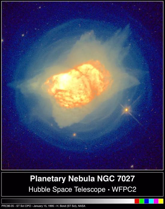 行星状星云NGC7027,图片中心偏左位置白色区域是一颗白矮星 图片来源:H. Bond (ST ScI) ,NASA