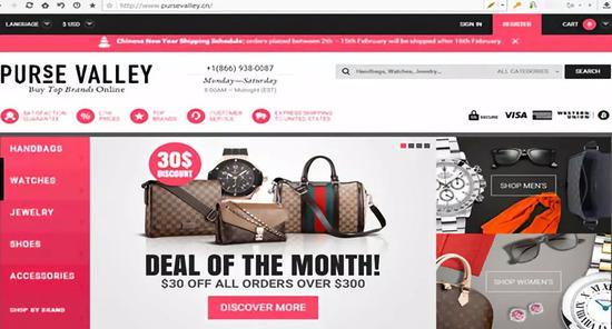 服務器位於海外的Pursevalley購物網站上充斥着大量假冒奢侈品。
