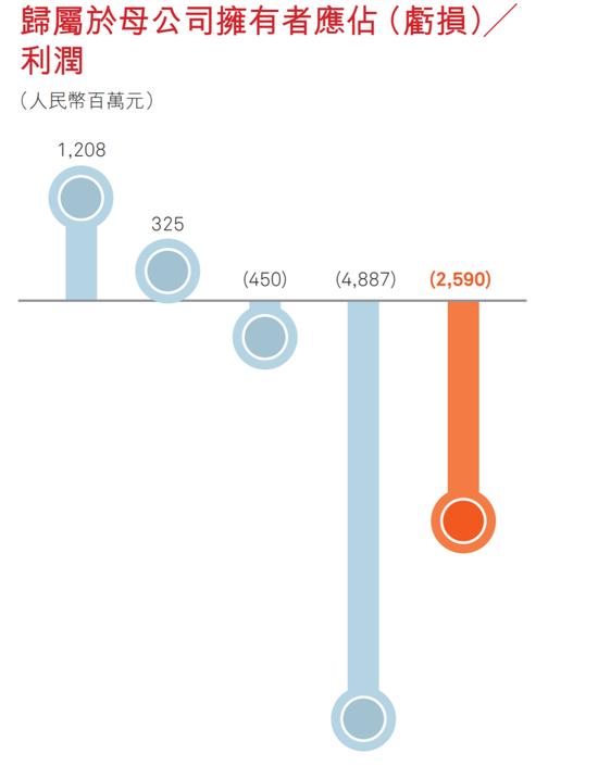 表2:国美2015-2019年归属于母公司拥有者应占(亏损)/利润;图表来源:国美2019年报