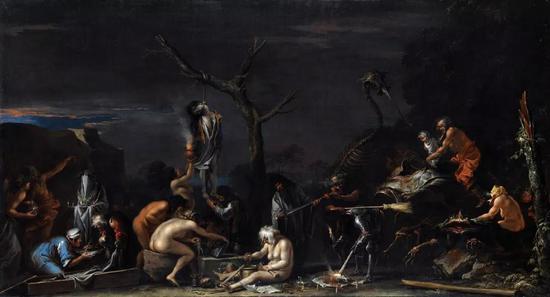 《巫婆和巫术》(Witches and Sorceries),1646,萨尔瓦多·罗萨(Salvator Rosa)。图源:Art Ranked Discovery Engine