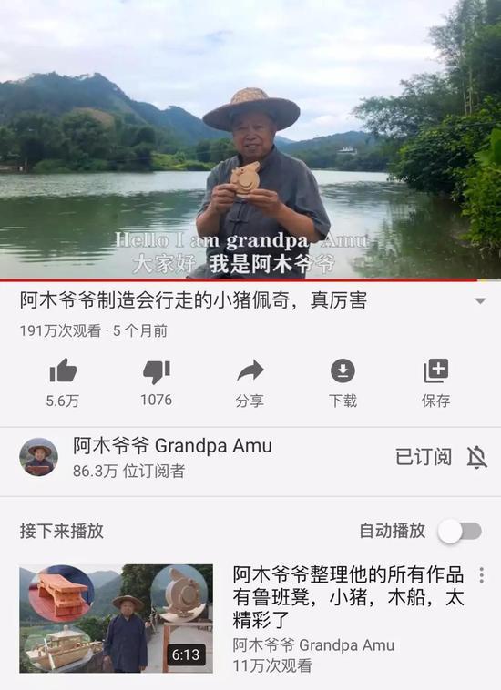 手工艺人阿木爷爷自制的小猪佩奇来源/YouTube