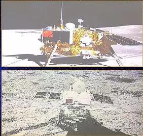 嫦娥四号着陆器与玉兔二号巡视器互拍(来源:央视)