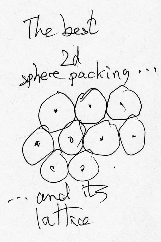 康威的关于球堆积问题的草稿。图片来源:John Conway