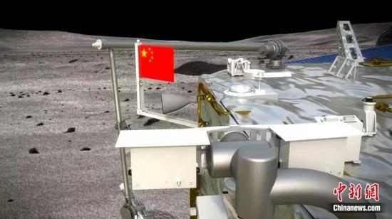 五星红旗月面展示模拟图。