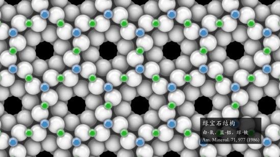 这是绿宝石的结构,晶体的内部结构如同外部的规则几何形状一般引人入胜