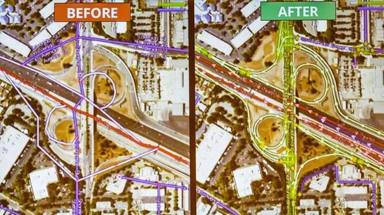 左图是机器生成的路径,右图是人工修正之后的路径。来源:CNET