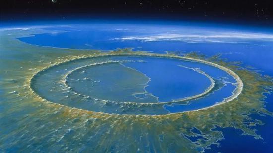 希克?#31456;?#20271;陨石坑轮廓图。图片来源?#28023;―ETLEV VAN RAVENSWAAY/SCIENCE SOURCE)
